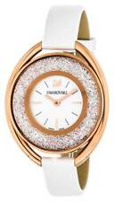 Swarovski Crystalline Oval 1700 Crystals White Leather Watch 5230946 New in Box