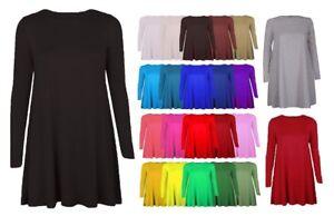 Ladies Plain Long Sleeve Swing Dress Tartan Print Party Swing Skater Dress 8-26