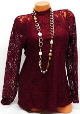 MAURICES MAROON WOMEN'S PLUS SIZE LACE FLORAL SEE THROUGH SLEEVE TOP 0, XL