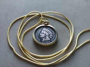 """Fine Classic Indian Head Penny bezel pendant & 18kgf 24"""" Gold Filled Snake Chain"""