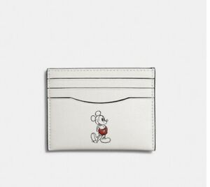 Authentic Coach X Disney Mickey Mouse Slim Leather Card Case Holder Chalk NWT
