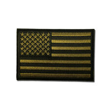 """3"""" American US Flag Black & Subdued Green Sew or Iron on Patch Biker Patch"""