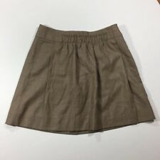 J.CREW Size 2 Brown Wool Skirt Lined Camel Pull-on City Mini Pleated Gathered