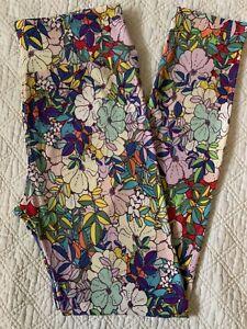 Lularoe Leggings OS RARE VINTAGE Tropical Flowers Multi-Color Pastel Floral