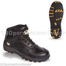 V12 VS640 Vtech De Seguridad De Cuero Negro Zapatillas Botas De Trabajo Smash Puntera Suela Nuevo