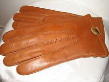 "VTG HANSEN MENS BROWN Genuine Leather WOOL DACRON LINING 10"" LONG Gloves SIZE 10"