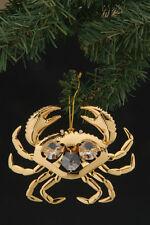 "SWAROVSKI CRYSTAL ELEMENTS ""Crab"" FIGURINE - ORNAMENT 24KT GOLD PLATED"
