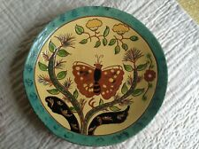 BREININGER POTTERY 10 1/2 INCH BUTTERFLY  PLATE INCLUDES POLITICAL NOTE