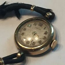 Vtg Harvey 7 Jewel Swiss Ladies Watch H28661 GF Scratched Crystal Blk Cord Band