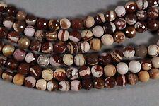 "BROWN & WHITE CHOCOLATE ZEBRA JASPER 8MM FACETED ROUND BEADS 15"" STRAND"