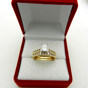 Vtg 14k Gold EMERALD Cut DIAMOND 1.15 tcw Engagement Wedding Band Ring Set sz 6
