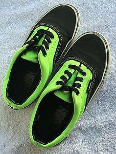 VANS Authentic ERA NEON BLACK & Green SKATE Shoes KIDS Size 13 US