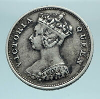 1901 HONG KONG British Colony Queen Victoria Genuine Silver 10 Cent Coin i78571