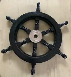 "18"" in Black Ship Wheel, solid wood / Chrome ~ Nautical Maritime wall decor"