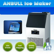 154Lbs Commercial Ice Maker Stainless Steel Restaurant Ice Cube Machine Anbull