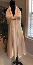 White House Black Market Gold 100% Silk Halter Strap Dress Size 12 NWT