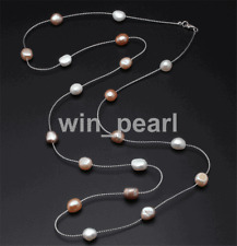 """Genuine Freshwater Multilayer long pearl necklace 36"""" 925 silver chain"""