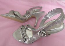 Occasion at Next UK6 EU39 US8 new silver sparkly sandals with diamante detail