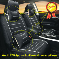 Car Seat Cover Full Set 5 Seats Front & Rear Linen Cushion W/Neck Lumbar Pillow