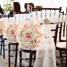 "5 Silk Rose Kiss Flower Ball 7"" Wedding Centerpiece Anniversary Crystal Pew Bows"