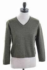BURBERRY Womens V-Neck Jumper Sweater Size 12 Medium Khaki Wool