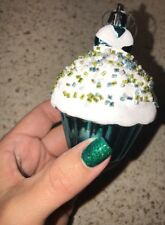 SPRINKLED CUPCAKE ORNAMENT SUGAR COATED Xmas TREE DECOR CANDY THEME PEPPERMINT