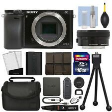 Sony Alpha a6000 Mirrorless Digital Camera with 16-50mm Lens Black + 16GB Kit