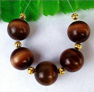 5Pcs 10mm Brown Cat Eye Gemstone Height Holes Ball Bead AP56291