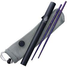 Kizer Cutlery Chopsticks Purple Anodized Titanium Sculpted Texture Padded Pouch