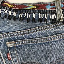 VTG Womens Buzz 18 Levi's Festival Repurposed Blue Jean Skirt Mini Bead Fringe