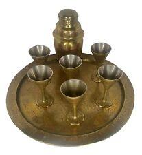 More details for 1930s cocktail set: shaker, tray, goblets - indian - benares style
