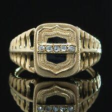 ANTIQUE VICTORIAN DIAMOND AND BLACK ENAMEL RARE POISON LOCKET RING