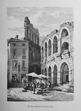 1890 ITALIEN VON WOLDEMAR KADEN=Veduta.Xilogr.PARTE ESTERNA DELL'ARENA DI VERONA