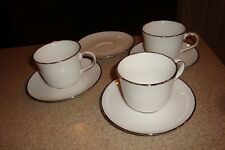 Royal Doulton Simply Platinum Fine Porcelain Lot Of 3 Cups And 4 Saucers