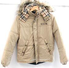 Ladies BURBERRY Beige Nova Check Trim Hooded Quilted Jacket Size UK 14 - N42