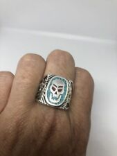 Vintage Men's Skull Ring Genuine Turquoise Silver Bronze Size 6.5