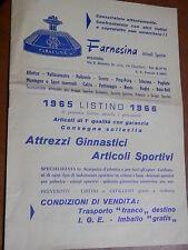 Vecchio depliant pubblicitario FARNESINA Articoli Sportivi BOLOGNA 1965 attrezzi