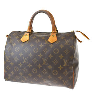 Authentic LOUIS VUITTON Speedy 30 Hand Bag Monogram Leather Brown M41526 37MF879