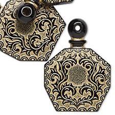 8737 Pendant 'Bottle' Black Gold 50mm PK1  *UK EBAY SHOP*