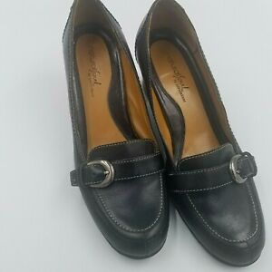 Natural Soul Naturalizer Womens Aroma Size 8 M Black Leather Slip On Heels