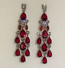 J38 White Gold Filled Red Zirconia Chandelier Drop Dangle Earrings Plum UK BOXED