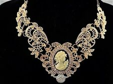 necklace 18k gold p metal lace crystal yellow black cameo vintage style FIOJ