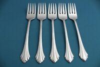 "5 Salad Forks Oneida BANCROFT Stainless Flatware 6 3/4"""