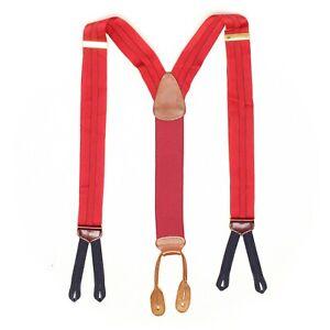Trafalgar Mens Silk Braces Suspenders Red Navy Blue Pinstripe Woven Leather