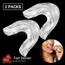 2PCS Silicone Mouth Guard Night Teeth Clenching Grinding Sleep Dental Bite NEW
