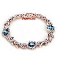 Rose Gold Filled Sapphire Blue Wheat Bracelet Made With Swarovski Crystal T15