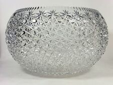 Huge Cut Crystal Punch Bowl Buttons and Daisies Design