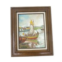 Mid Century Modern Framed Signed Impasto Abstract Nautical Boat Oil Painting