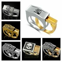 Fashion Mens Heavy Stainless Steel Gothic Punk Biker Rings Lion Skull Jewelry US