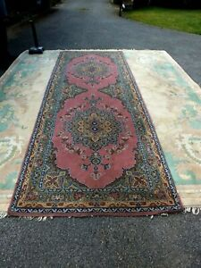 Antique Middle Eastern Wool Runner with Twin Floral Centrepieces on Pink Ground